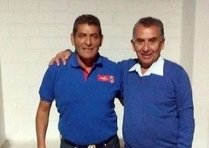 Kico Rojas con el ex internacional, Rodolfo Dubó.