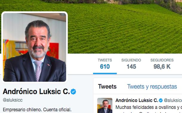 Andrónico Luksic saluda a los ovallinos por el aniversario de la ciudad en Twitter