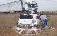 Dos lesionados en volcamiento de automóvil en ruta D-45